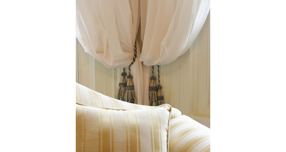 Curtain ties in cream and dusty blue