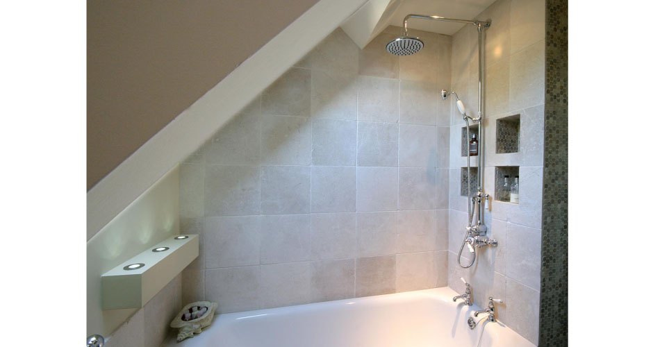 Shower room by Country Knole interior designers in Somerset